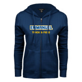 ENZA Ladies Navy Fleece Full Zip Hoodie-Track and Field