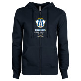 ENZA Ladies Navy Fleece Full Zip Hoodie-Emmanuel Field Hockey Club