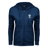 ENZA Ladies Navy Fleece Full Zip Hoodie-Primary Logo