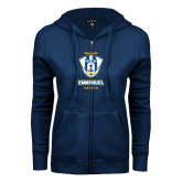 ENZA Ladies Navy Fleece Full Zip Hoodie-Primary Logo