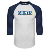 White/Navy Raglan Baseball T-Shirt-Saints