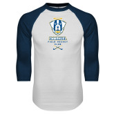 White/Navy Raglan Baseball T Shirt-Emmanuel Field Hockey Club