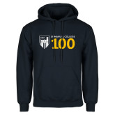 Navy Fleece Hoodie-Emmanuel College 100