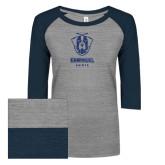ENZA Ladies Athletic Heather/Navy Vintage Triblend Baseball Tee-Primary Logo Glitter Dark Blue