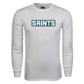White Long Sleeve T Shirt-Saints