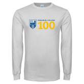 White Long Sleeve T Shirt-Emmanuel College 100