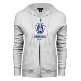 ENZA Ladies White Fleece Full Zip Hoodie-Primary Logo Glitter Dark Blue