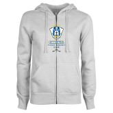 ENZA Ladies White Fleece Full Zip Hoodie-Emmanuel Field Hockey Club