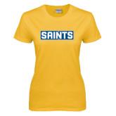 Ladies Gold T Shirt-Saints