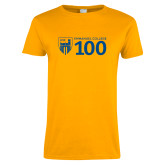 Ladies Gold T Shirt-Emmanuel College 100