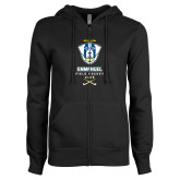 ENZA Ladies Black Fleece Full Zip Hoodie-Emmanuel Field Hockey Club