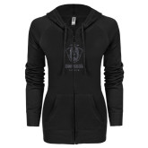 ENZA Ladies Black Light Weight Fleece Full Zip Hoodie-Primary Logo Glitter Graphite Soft
