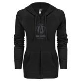 ENZA Ladies Black Light Weight Fleece Full Zip Hoodie-Primary Logo Glitter Graphite Soft