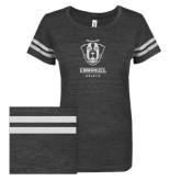 ENZA Ladies Black/White Vintage Triblend Football Tee-Primary Logo Glitter White Soft