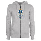 ENZA Ladies Grey Fleece Full Zip Hoodie-Emmanuel Field Hockey Club