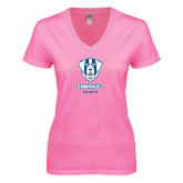 Next Level Ladies Junior Fit Deep V Pink Tee-Primary Logo