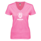 Next Level Ladies Junior Fit Ideal V Pink Tee-Primary Logo