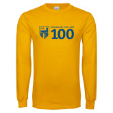 Gold Long Sleeve T Shirt-Emmanuel College 100
