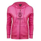 ENZA Ladies Fuchsia Fleece Full Zip Hoodie-Primary Logo Glitter Hot Pink