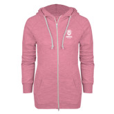 ENZA Ladies Hot Pink Marled Full Zip Hoodie-Primary Logo