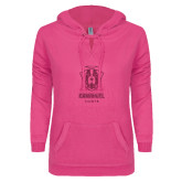 ENZA Ladies Hot Pink V Notch Raw Edge Fleece Hoodie-Primary Logo Glitter Hot Pink