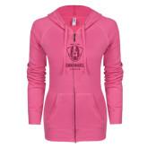 ENZA Ladies Hot Pink Light Weight Fleece Full Zip Hoodie-Primary Logo Glitter Hot Pink