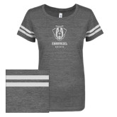 ENZA Ladies Dark Heather/White Vintage Triblend Football Tee-Primary Logo Glitter White Soft