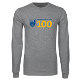 Grey Long Sleeve T Shirt-Emmanuel College 100