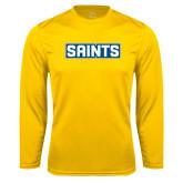 Syntrel Performance Gold Longsleeve Shirt-Saints