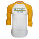 White/Gold Raglan Baseball T-Shirt-Secondary Mark