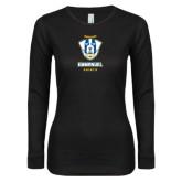 Ladies Black Long Sleeve V Neck T Shirt-Primary Logo