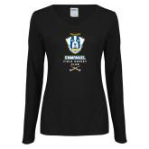 Ladies Black Long Sleeve V Neck Tee-Emmanuel Field Hockey Club
