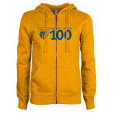 ENZA Ladies Gold Fleece Full Zip Hoodie-Emmanuel College 100