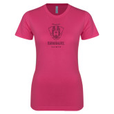 Ladies SoftStyle Junior Fitted Fuchsia Tee-Primary Logo Glitter Hot Pink