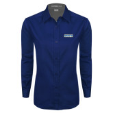 Ladies Navy Twill Button Down Long Sleeve-Saints