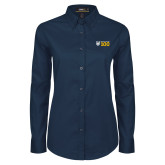 Ladies Navy Twill Button Down Long Sleeve-Emmanuel College 100