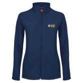 Ladies Fleece Full Zip Navy Jacket-Emmanuel College 100