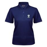 Ladies Navy Dry Mesh Polo-Primary Logo