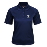 Ladies Navy Textured Saddle Shoulder Polo-Primary Logo