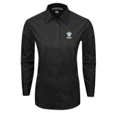 Ladies Black Tonal Pattern Long Sleeve Shirt-Primary Logo