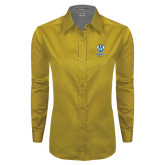 Ladies Gold Twill Button Down Long Sleeve-Primary Logo