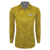 Ladies Gold Twill Button Down Long Sleeve-Secondary Mark
