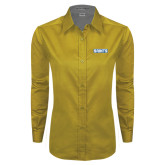 Ladies Gold Twill Button Down Long Sleeve-Saints