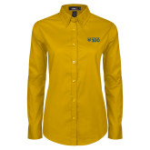 Ladies Gold Twill Button Down Long Sleeve-Emmanuel College 100