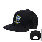 Black Flat Bill Snapback Hat-Primary Logo
