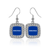 Crystal Studded Square Pendant Silver Dangle Earrings-University Mark
