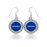 Crystal Studded Round Pendant Silver Dangle Earrings-University Mark