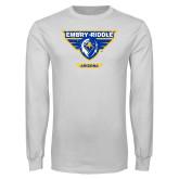 White Long Sleeve T Shirt-Athletic Mark - Arizona Distressed