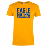 Ladies Gold T Shirt-Eagle Nation