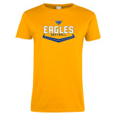 Ladies Gold T Shirt-Softball Plate